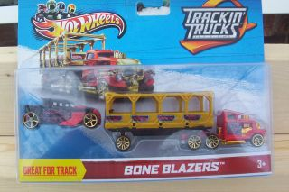 2013 Hot Wheels Bone Shaker Trackin` Trucks Bone Blazers Red and Gold