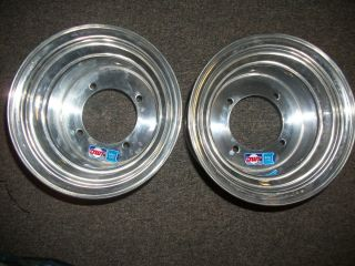 TWO NEW DWT MINI WHEELS 8X7 4 110 DRR ARTIC CAT APEX DRX 50 90 BLUE