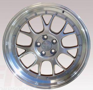 18x8 5 MIRO 368 RIMS WHEELS HYPER SILVER STEP LIP AUDI TT VW MK4 JETTA