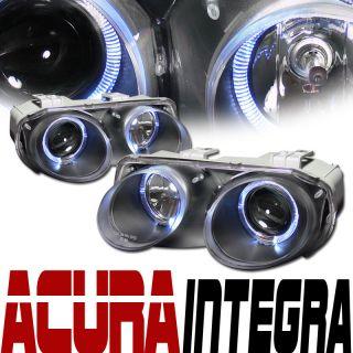 JDM BLACK TWIN HALO RIMS PROJECTOR HEAD LIGHTS LAMPS 98 01 ACURA