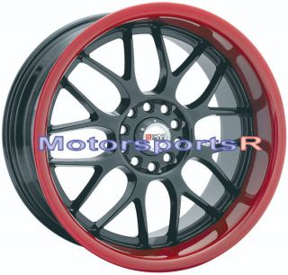 18 XXR 006 Black Red Lip Rims Wheels Deep 5x100 5x114 3 5x4 5 Honda