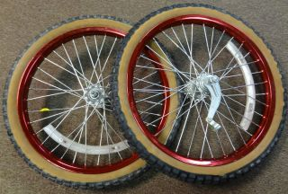 Femco 20 inch Wheels for Old School BMX Red Rims Sun Tour Coaster