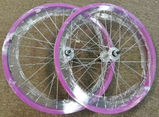 Lavender 20 inch Wheels Pair of Wheels for BMX Bike Dbl Wall 3 8 axle