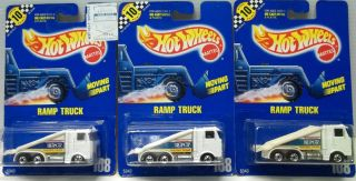 1990 Lot of 3 HOT WHEELS Blue Card #108 RAMP TRUCK Window Variations