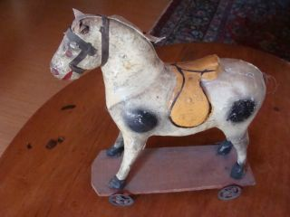 19th C German Paper Mache Pull Toy Horse Metal Wheels