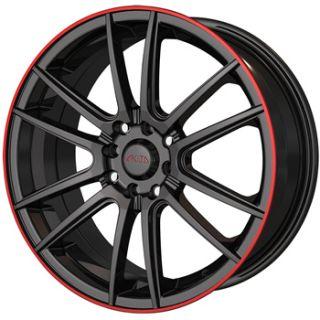 17x7 Black Red Wheel Akita AK77 5x105 5x112