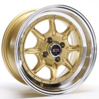 Str Wheels STR504 16x8 4x100 20 Gold Machined Lip