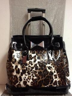 Carry on Travel bag Luggage Wheels Leopard Handbag Fashion Fancy