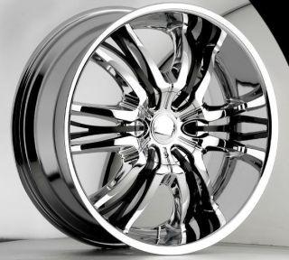 22 inch Cattivo 767 Chrome Black Wheels Rims 5x115 15