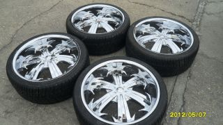 22 INCH CHROME WHEELS RIMS AND TIRES W/ CENTER CAPS UNIVERSAL 5X120