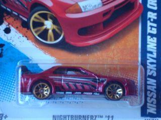 Hot Wheels 2011 Nightburnerz Series Nissan Skyline GTR Red 115