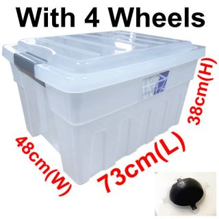 110L Extra Large Clip Handle Wheels Plastic Clear Storage Box