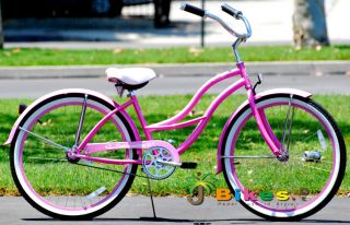 Tahiti 26 Womens Beach Cruiser Bicycle bike Pink colored Fenders Rims