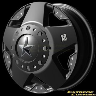 Series XD775 Rockstar Dually Black 8 Lug Wheels Rims Free Lugs