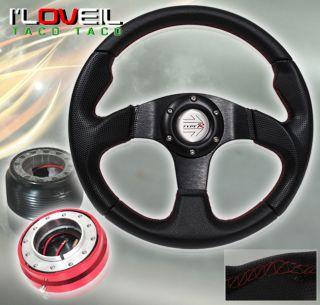 96 00 Honda Civic Black Steering Wheel Red Short Quick Release Adapter