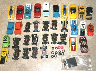 Huge Lot 25 Slot Cars Bodies Wheels Tyco AFX G Plus Volkswagen