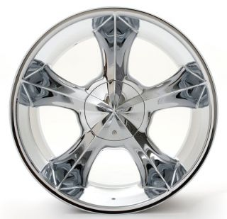 24 Player 817 Chrome Rims Tires Pkg 5x127 5x135 Chevy Cars and Trucks