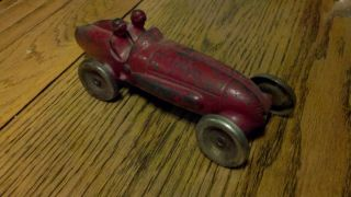 Arcade 138 7 inch Cast Iron Racing Car w 2 Riders Nickel Wheels