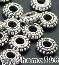 140 Tibetan Silver Dotted Rim Rondelle Spacers on Sale