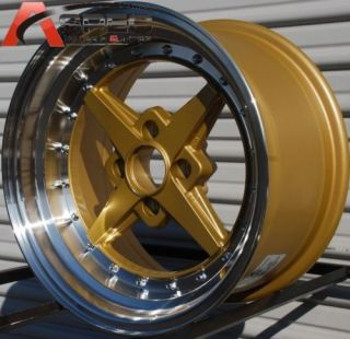 Rota Zero Plus 15x8 4x100 0 Gold Polish Rim Wheels
