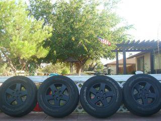 Sahara Rubicon Wrangler 17 OEM 5 on 5 Alloy Rims Wheels Tires Goodyear