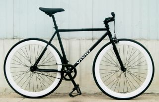 BICYCLE FIXED GEAR TRACK BIKE VIVID BICYCLES NEW MATTE BLACK WHITE RIM