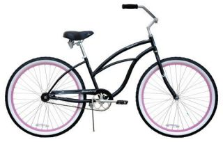 Cruiser Bicycle Bike Lady Firmstrong Urban Black w Pink Rims