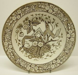 Antique WEDGWOOD Aesthetic Staffordshire Brown Transferware BEATRICE