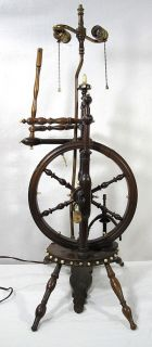 Small Antique Salesman Sample Ox Bone Wood Spinning Wheel Made Into A