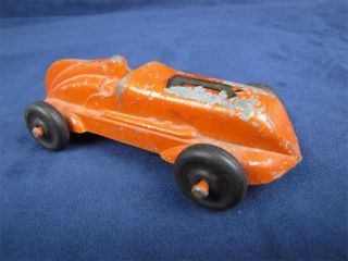 Vintage Die Cast Race Car Rubber Wheels Driver Orange