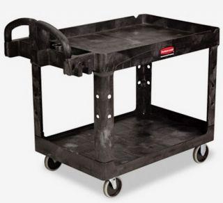 Rolling Utility Cart 2 Shelf Heavy Duty Swivel Caster Wheels