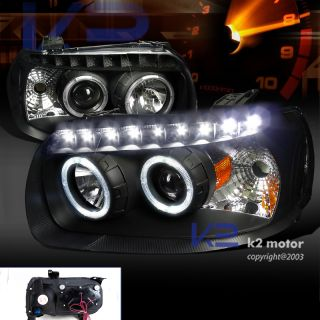 2005 2007 ESCAPE BLACK DUAL HALO PROJECTOR HEADLIGHTS LAMPS SMD LED