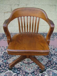 Solid Walnut Taylor Windsor Office Arm Swivel Chair Wheels