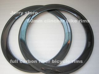 60mm Clincher Carbon Fiber Bike Rims One Pair for 700c Road Racing