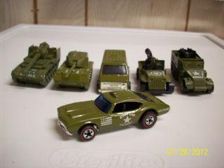 Hot Wheels Military Machines 6 Piece Set Olds Staff Car Khaki Kooler