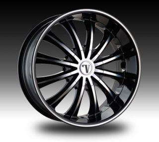 VW15 Dub Wheel Set Black Rims 24x8 5 VW15 Rim Chevy Tahoe Yukon