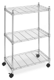 Kitchen Office Garage Cart Chrome 3 Tier Storage Wheels Rolling