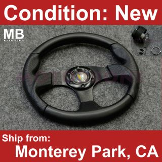 Black Stitching Honda Civic 88 91 Hub Steering Wheel Beginner Badge