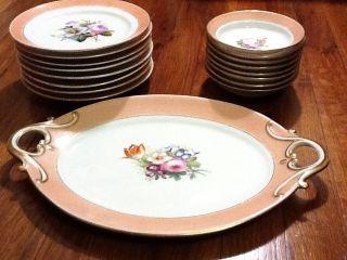 Old Paris Porcelain 17 Piece Dessert Set Floral Gold Rim