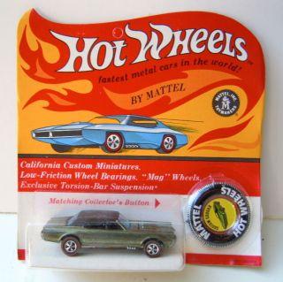 1967 Hot Wheels Custom Cougar Redline Olive Green Blister Unpunched