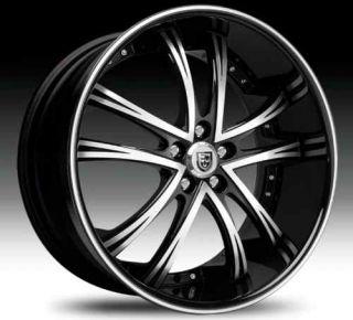 55 Wheel Set 26x10 Black Machined with Black Lip Rims rwd 5LUG