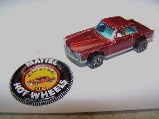 Hot Wheels Redline 1969 Mercedes Benz 280SL color Red w/ the badge in