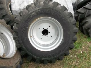 R4 Titan Kubota L45 Backhoe Farm Tractor Tires w 6 Hole Rims