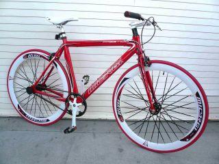 Alloy Road Bike 53 cm w Deep 50cm Rim Flat Bladed Spokes Red