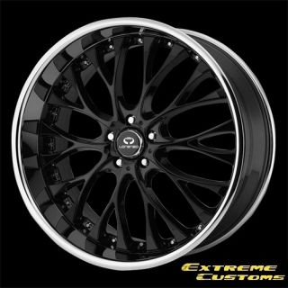 WL027 Gloss Black with Chrome Lip 5 Lug One Single Wheel Rim
