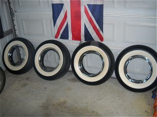 VINTAGE GANGSTER WIDE WHITE WALL TIRES 6 70 x 15  POLYGLASS OLD