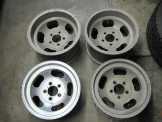ANSEN SPRINT 15X8 5 15X7 ALUMINUM SLOT MAG WHEELS RAT ROD GASSER CHEVY