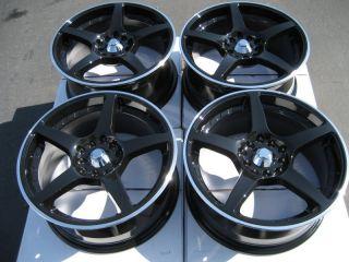 17 5x114 3 5x100 Rims Black Civic Lancer Accord Jetta Prelude S2000 5