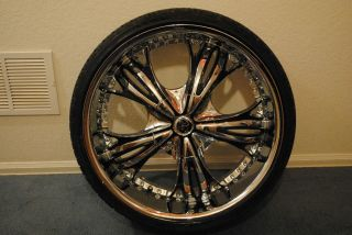 22 x 9 5 Diablo Angel Chrome Wheel Rim Low Pro Tire Package BMW 5 6 7