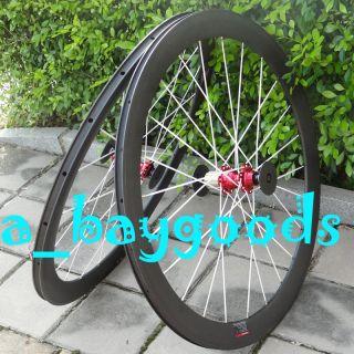 Full Carbon 3K Matt Road Bike Clincher Rim Wheelset 60mm White Spokes